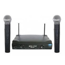 Microfone Sem Fio Duplo Mega Star Mic - 5537 Pronta Entrega