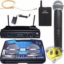 Microfone Leson Duplo Sem Fio Ls802 Hd/ht85 Mão + Headset