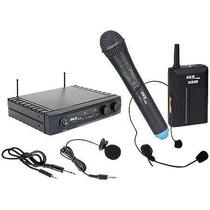 Microfone Duplo S/fio Skp Uhf271 De Mão Lapela E Instrumento
