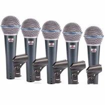 Kit 05 Microfones Arcano = Shure Beta58 Bt-58 Maleta E Cabos