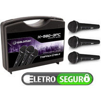 Kit De 3 Microfones De Mão Vocal Karaoke K580 Waldman + Case