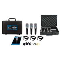 Kit 3 Microfones C/ Fio De Mão Sml48sx-3 Lyco
