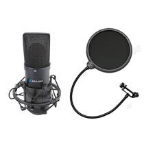 Microfone Arcano Para Estúdio Black Usb 01 + Pop Filter Pfe