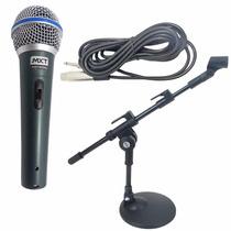 Microfone Profissional Bt58a + Mini Pedestal De Mesa + Cabo