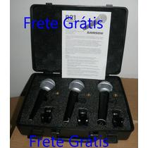 3 Microfones Samson Profissional Com Case Voz Frete Grátis