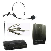 Kit Microfone Sem Fio Auricular Lapela Head Set Wireless