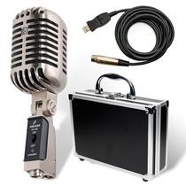 Arcano Microfone Vintage Usb Dinamico Vt-45 Completo Cromado