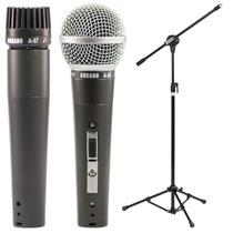 Microfone Arcano A-57 Ou A-58 Com Cabo Cachimbo + Pedestal