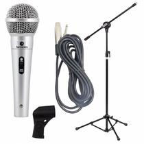 Microfone Profissional Mdc201 + Pedestal Com Cachimbo + Cabo