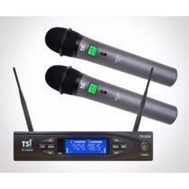 Microfone S/ Fio Tsi 8299 Uhf Mão Duplo 198 Canais 18758