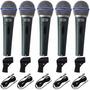 Kit 5 Microfones Profissionais + Cabos Similar Shure Beta 58