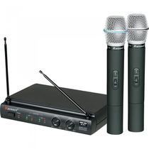 Microfone De Mão Sem Fio Duplo Kru302 Preto Karsect