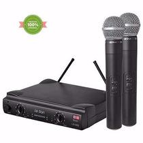 Microfone Leson Sem Fio Duplo De Mão U H F Ls-802 Original