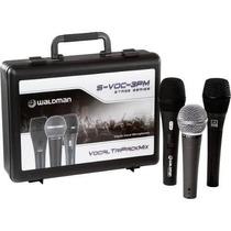 Kit 3 Microfones Com Case E Acessórios Waldman Svoc 3pm