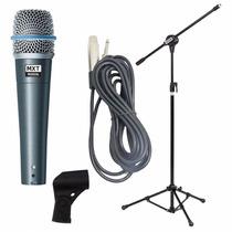 Microfone Profissional Btm57a + Pedestal Com Cachimbo + Cabo