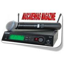 Microfone Shur E Sem Fio Slx24 Beta 58a Made Mexico Id1983
