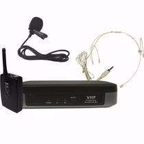 Microfone Sem Fio Headset Auricular De Cabeça + Lapela