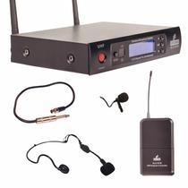 Microfone Arcano Uhf Sem Fio Alx Auricular + Lapela + Guitar