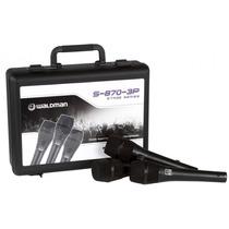 Kit 3 Microfones S-870 3p Com Case - Waldman Frete Grátis!!