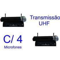 02 Microfones Duplos S/ Fio Uhf Jwl U 585 C/ Case