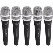 Kit 5 Microfones Com Fio Profissionais + Cabos Sce C/ Chave
