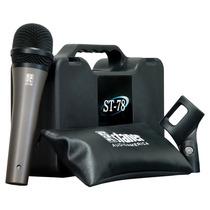 Microfone Com Fio De Mão Staner Dinâmico Com Maleta St 78