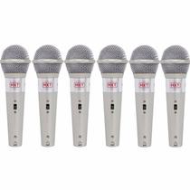 Kit 6 Microfones Com Fio Profissionais + Cabos Sce C/ Chave