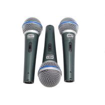 Kit Com 3 Microfones Profissionais Mxt Bt-58a -magazine Pgc