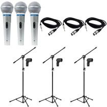 Kit 3 Microfone Profissional Leson + 3 Pedestais + Cabos