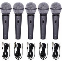 Kit 5 Microfones Profissionais + Cabos Como Shure Sm57 Sm58