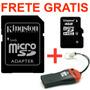 Cartão Memória Micro Sd Kingston 4gb +leitor + Frete Grátis