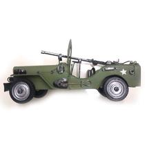Jeep Guerra - Eua Decorativo Verde Militar - Metal - Latao