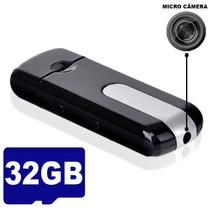 Pen Drive Espião Camera Espiã Gravador De Voz Vídeo + 32gb
