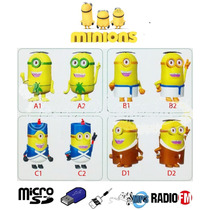 Caixa De Som Minions Portátil Mp3 Entrada Usb Pendrive Radio