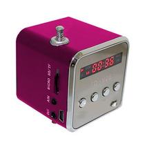 Mini Alto Falante Rádio Fm Mp3 Usb Micro Sd Leds Yasin #rosa