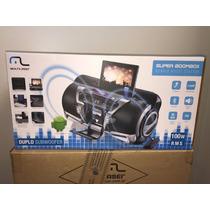 Som Boombox Multilaser Bluetooth Cd Sd Usb Bivolt - Novo