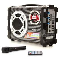 Caixa De Som Fm Mp3 Usb, Sd Microfone Bateria 4 Hs De Uso