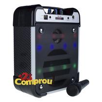 Caixa Som Amplificada 20+5w Mp3 Radio Fm Usb C/ Microfone
