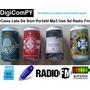 Caixa De Som Lata Latinha Portátil Mp3 Usb Sd Radio Fm Aux!
