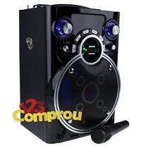 Caixa De Som Amplificada 30w Radio Fm Mp3 Usb C/ Microfone