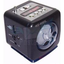 Kit C/10 Caixinha De Som Ws-908 Portátil Rádio Fm Usb
