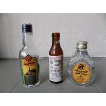 Miniatura 3 Garrafas Conhaque-cachaça-amaretto Antigas Raras