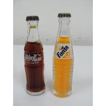 Garrafinhas De Vidro 1 De Coca-cola + 1 De Fanta - Rara