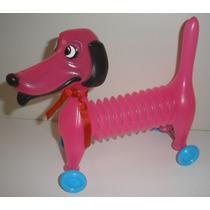 Cachorro Sanfona Mola Com Rodinhas Brinquedo Vintage Novo