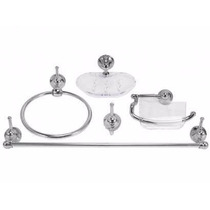 Kit Acessórios Banheiro 5 Peças Acrílico Cristal Vidro