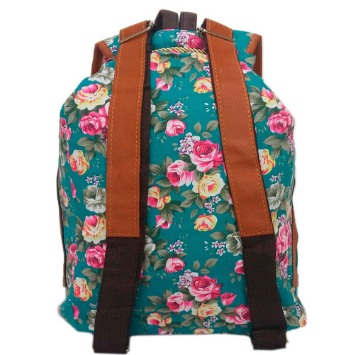 Bolsa Mochila Feminina Juvenil Lona Escolar Universitária : Mochila bolsa feminina florida verde lona escolar juvenil