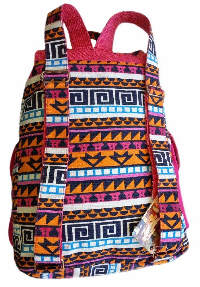 Bolsa Mochila Feminina Juvenil Lona Escolar Universitária : Mochila feminina lona tribal trv escolar universit?ria