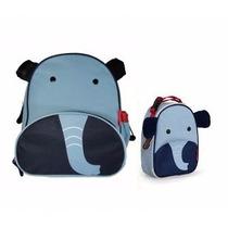 Kit Conjunto Mochila Lancheira Infantil Elefante Orange Idea
