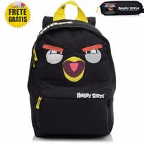 Mochila Angry Birds Nas Cores Vermelha E Amarela + Estojo