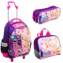 Kit Mochila Barbie Rock Royals Rodinhas Roxa + Lancheira